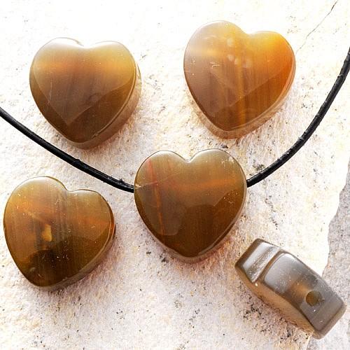 Herz Ketten-Anhänger Versteinertes Holz