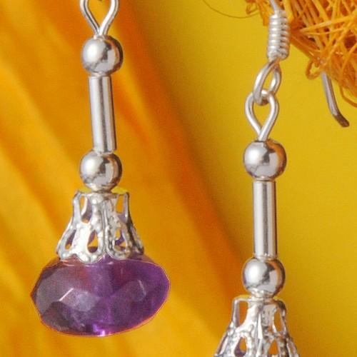 Amethyst earrings with silver
