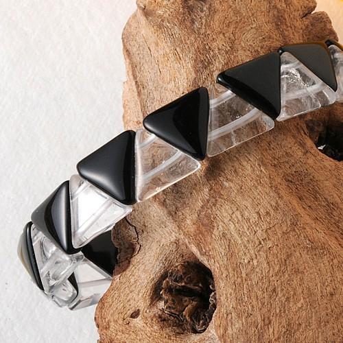 Bergkristall / Onyx Armband Triangle SMALL