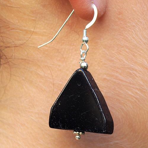 Schwarze Turmalin Scheibe am Ohrhaken