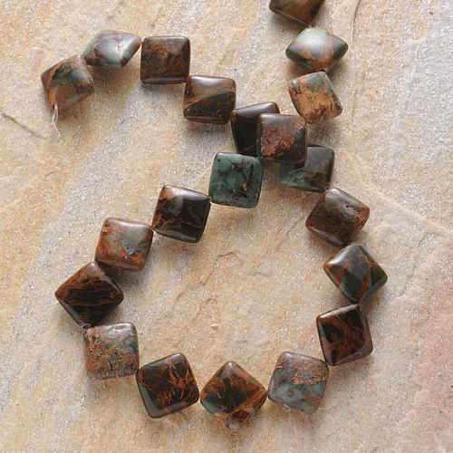 Grüne Opal Perlen Kissen Diagonal Gebohrt 14-15mm