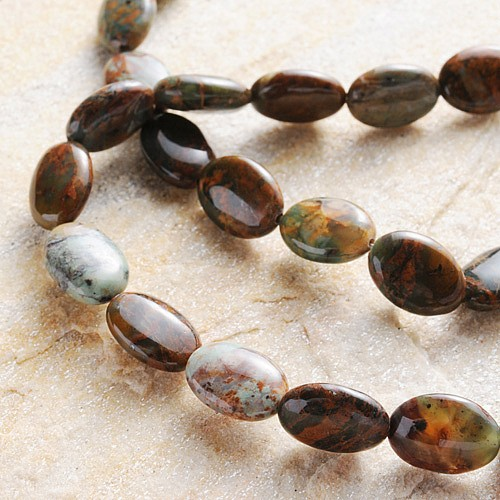 Opal Perlen Grün Flache Olive 14x10x5mm