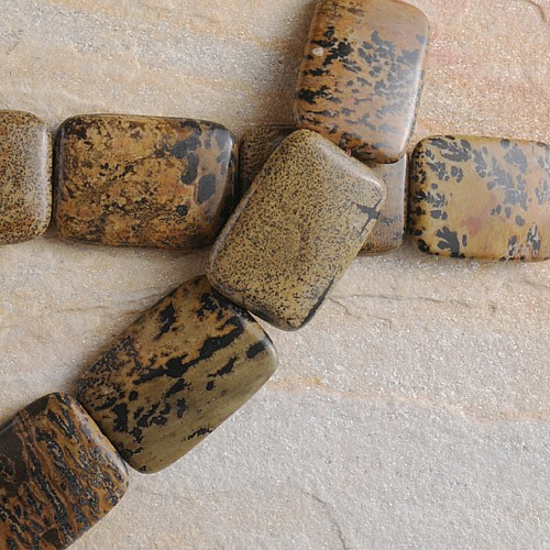 Antik Jaspis Perlen Braun Rechteck 36x26x7mm