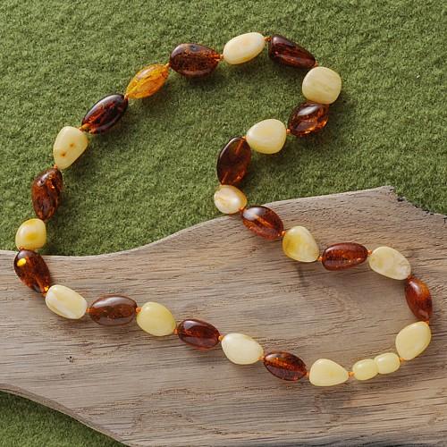 Amber Necklace bicolour Tumbled Stones 50 cm A