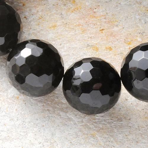 Obsidian Perlenstrang 40cm/10mm facettierte Edelstein Perlen