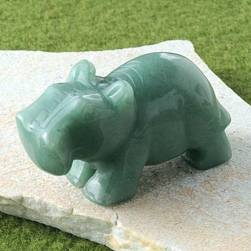Aventurine hippo figure
