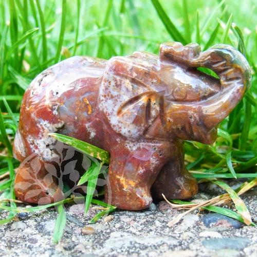 Edelstein Elefant Moosachat