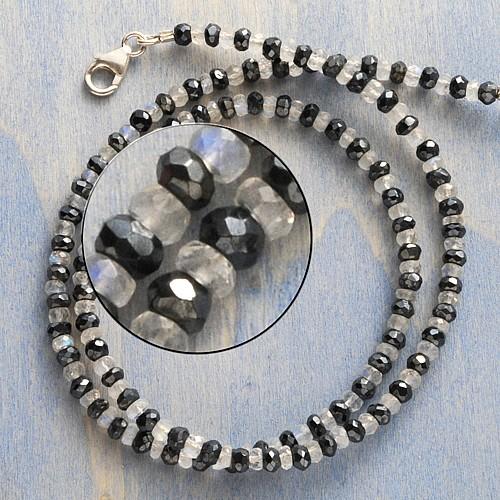 Spinell Halskette Labradorit mit Mondstein Silber 925
