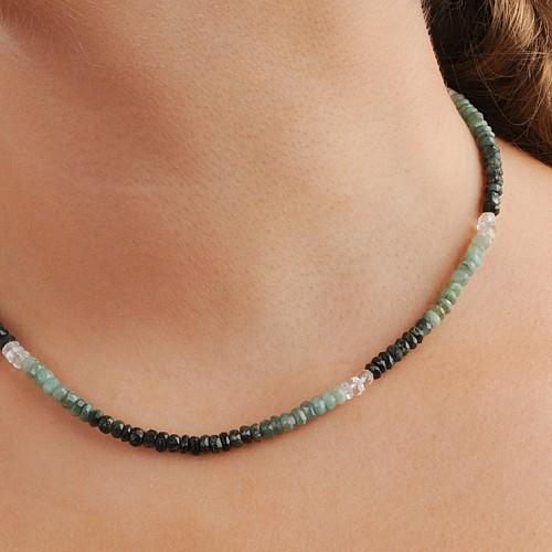 Smaragd Halskette facettierte Perlen 3.5-4mm