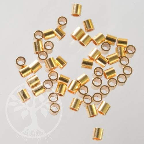 Crimpröhrchen Gold 2x2mm Quetschperlen Tubes 14K 1/20 Goldfilled