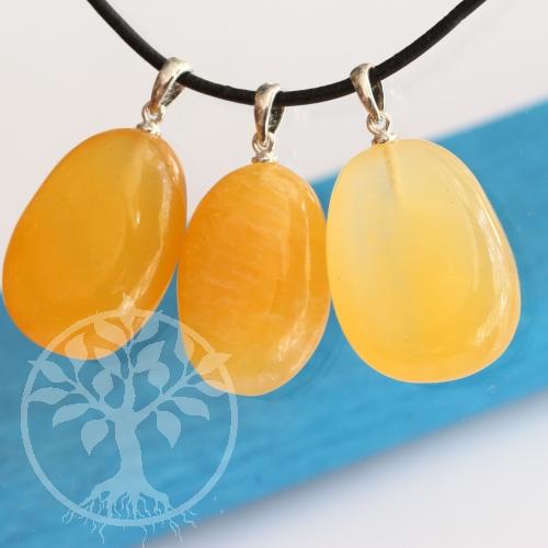 Orangencalcit Stein Anhänger A mit Öse Silber 925