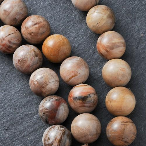 Versteinertes Holz Perlen 14mm/ 40cm Strang Glanz A