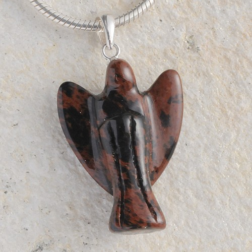 Engel Anhänger Mahagoni Obsidian