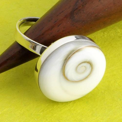 Silver Ring Shiva Shell round
