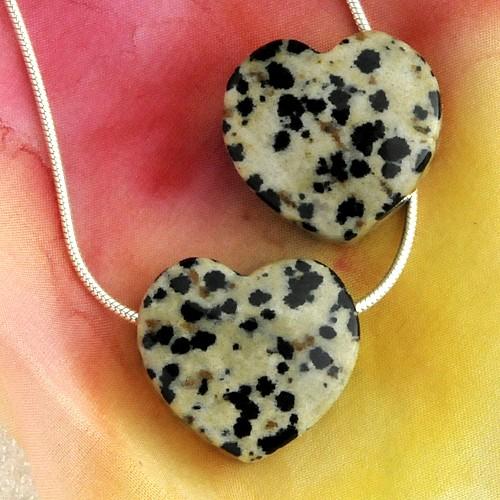Dalmatiner Jaspis Herz Anhänger