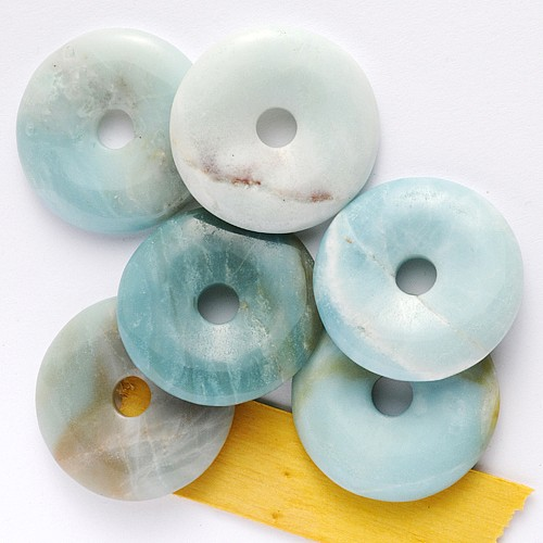 Blue Amazonite Donut 30mm slice Pendant