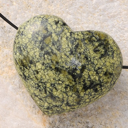 Snakeskin Jasper Heart Pendant Belly BIG