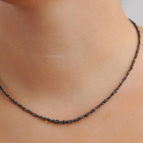 Diamant Halskette Schwarz Rohdiamant