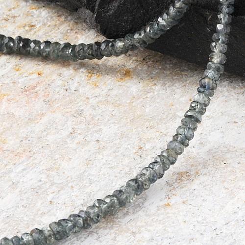 Saphir Halskette grün-blaugrau Edelsteine Facettiert