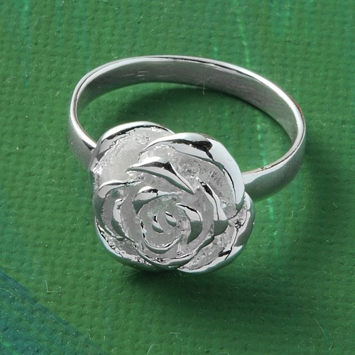 Silver Ring  Little Rose