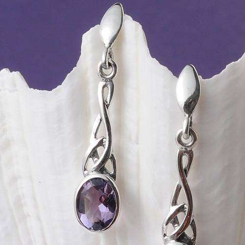 Silver Earrings Amethyst Art Nouveau
