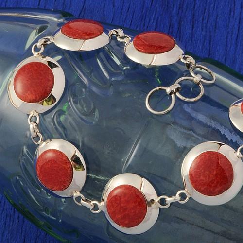 Koralle Armband Silber rund