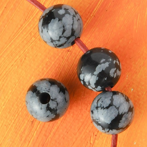 Schneeflocken Obsidian Kugel Anhänger 12 mm