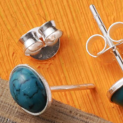 Chrysokoll Silberohrstecker Oval