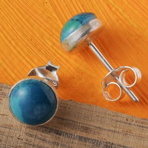 Chrysocolla Silver Earrings round
