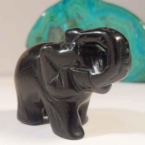 Onyx schwarzer Elefant Rüssel nach oben 40mm