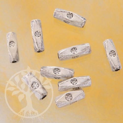 Schmuck Roehrchen 10x3mm Perle Hammer Echt Silber Perle lang