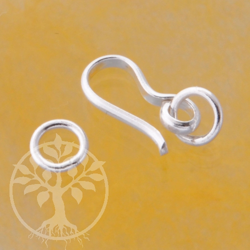 Silver Clasp Hook 15mm with Rings Sterlingsilver
