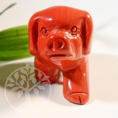 Schwein roter Jaspis Steinfigur