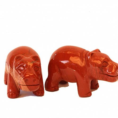 Roter Jaspis Stein Nilpferd 50mm