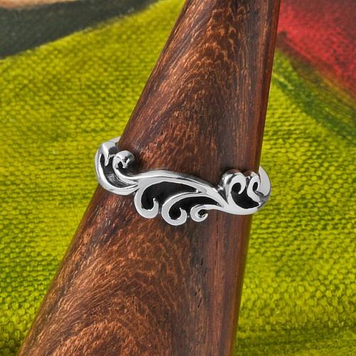 Silver Ring Ocean Wave