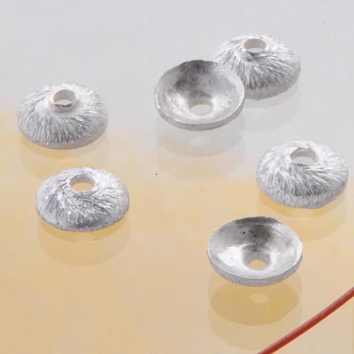Perlenkappen 6mm matt Silber 925, kleine Silber Bead Caps gebuerstet