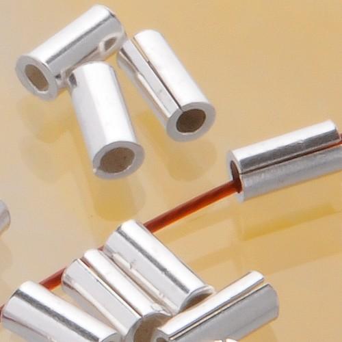 Longitudinal Silver Bead shiny, 4mm