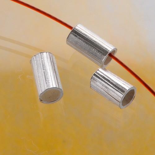 Schmuckroehre Silber Streifen, 6mm