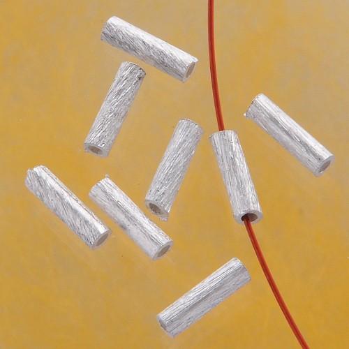 Silber Laengsperle gebuerstet 8 x 2 mm