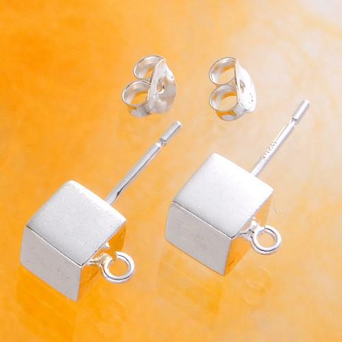 Cube Earrings 6 mm Silver 925
