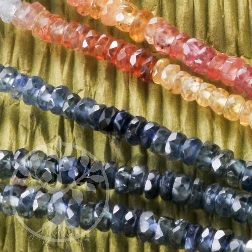 Saphirkette bunt Saphir Edelsteinkette bunt  Silber 925 Verschluss