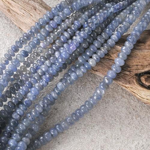 Saphir Blau Button Edelsteinkette