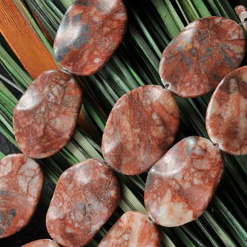Blutstein Schmuckperlen mit Wellenschliff 40*28mm Perlen 40cm langer Perlenstrang