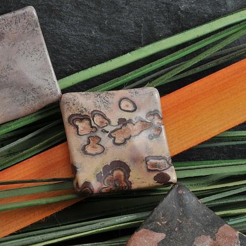 Blumenjaspis Perlen Quadrat 35mm Porzellanit aufwendiger Schliff 40cm Strang