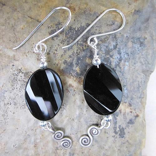 Obsidian Ohrhaenger Silber Ornamente