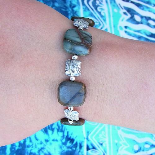 Polychronic Jaspis Armband Silber