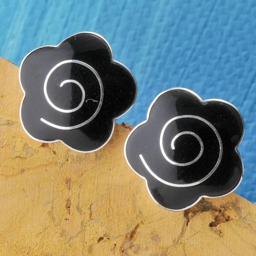 Silberohrstecker Onyx Blume