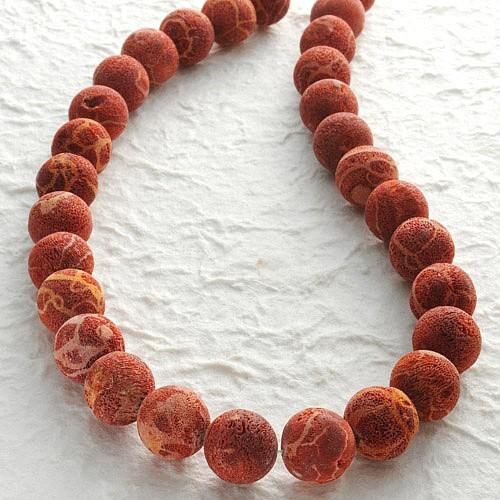 Koralle Perlen Natur, Kugel roh 10mm 40cm Perlen aus Natur Koralle
