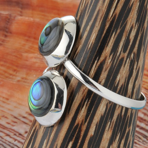 Silver Ring Nacre Blue