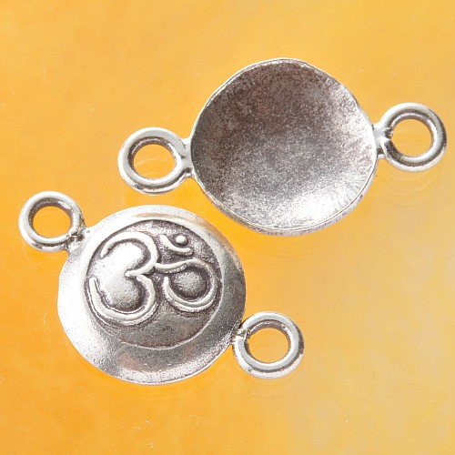 Ohm symbol with 2 eylets in sterling silver